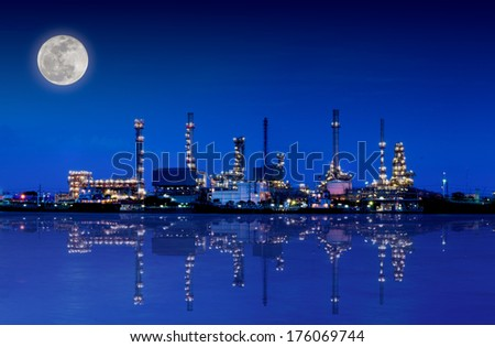 Oil and gas refinery at twilight with reflection - stock photo