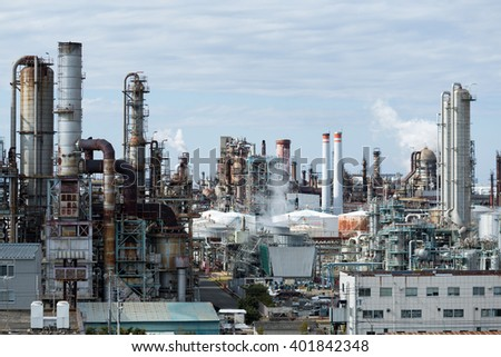 Oil and gas refinery industrial plant - stock photo