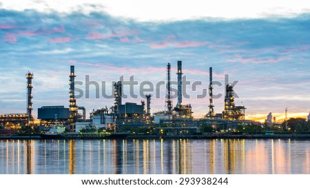 Oil and gas refinery plant area at sunrise