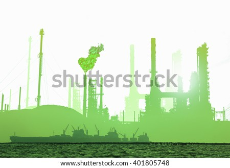Oil and gas refinery plant isolated on white background with sea sunset