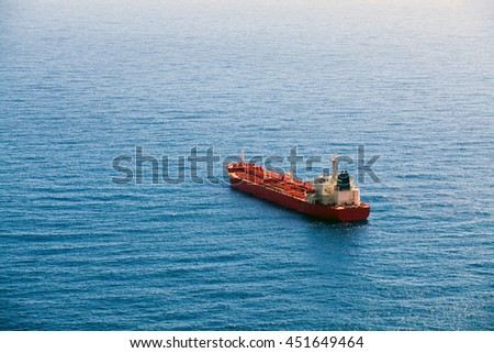 Oil and gas tanker ship in the sea - stock photo