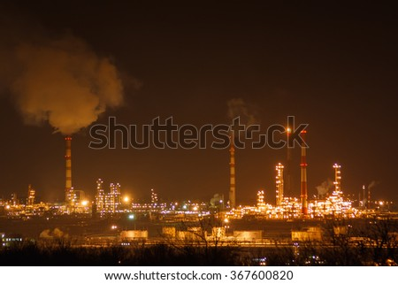 Oil and gas work industry factory at night