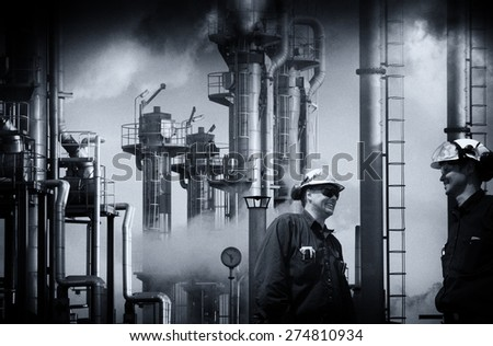 oil and gas workers at refinery industry vintage processing concept - stock photo