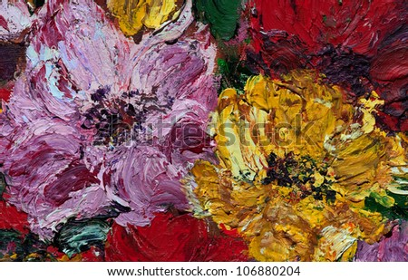 Oil and Pallet knife abstract painting of red, pink and yellow flower blossoms. - stock photo