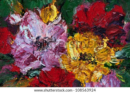 Oil and Pallet knife abstract painting of red, pink and yellow flower blossoms.