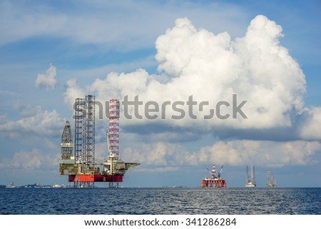 Oil and Rig industry in offshore, Construction platform for production oil and gas in energy business.