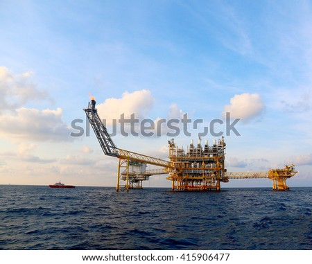Oil and Rig platform with blue sky