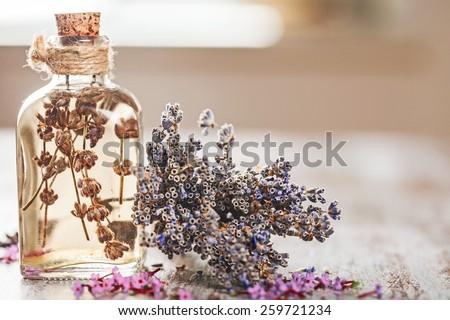 Oil, apothecary, decoration. - stock photo