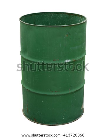 Oil barrel dirty drum open top isolated on white background. Thai has clipping path. - stock photo