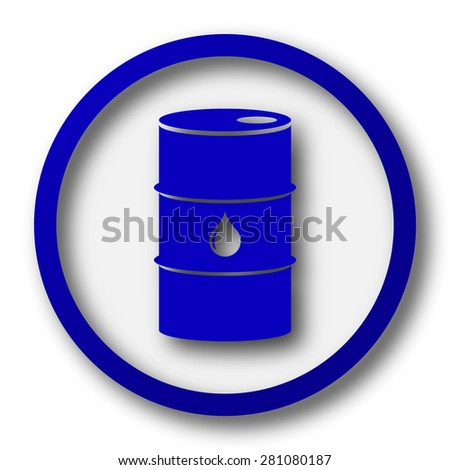 Oil barrel icon. Blue internet button on white background.