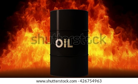 Oil Barrel in Raging Fire Oil Price Crisis Concept 3D Illustration