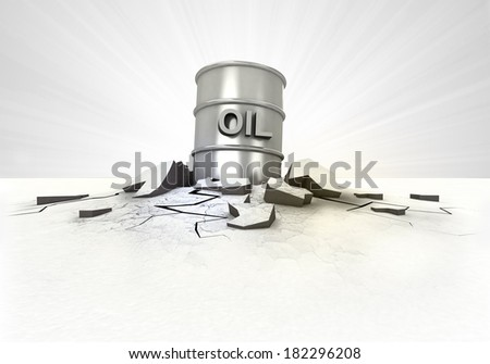 oil barrel stuck into ground with flare concept illustration - stock photo