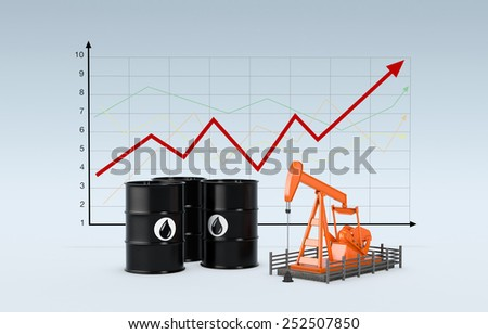 oil barrels and a pumpjack with a chart on background (3d render) - stock photo