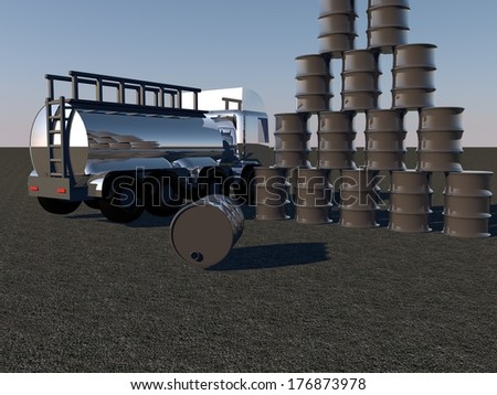 Oil barrels and tanker under sunset light, 3d render