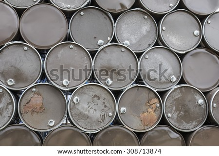 Oil barrels background texture - stock photo