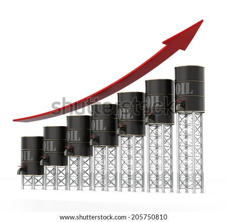 Oil Barrels Chart - stock photo