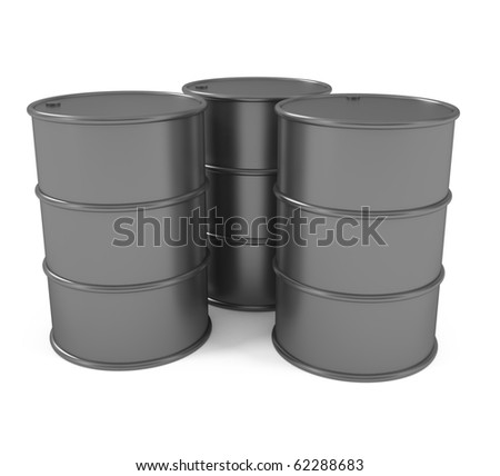 Oil barrels on white - 3d illustration