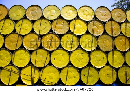 oil barrels stacked up for cargo - stock photo