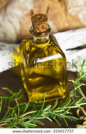 oil bottle with rosemary