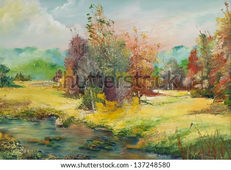 Oil canvas paintings, landscapes scene, this is my art work, I am author of this oil image - stock photo