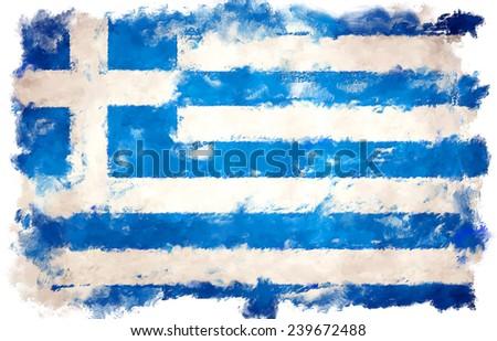 oil color greece flag  - stock photo