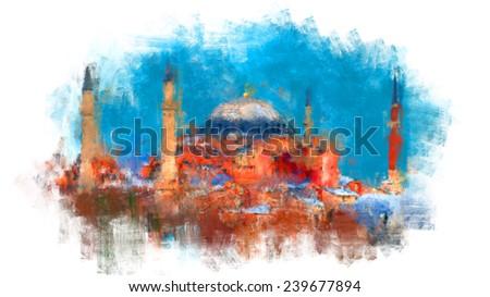 oil color hagia sophia mosque istanbul - stock photo