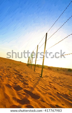 Oil Color Painting of protection wire in desert.