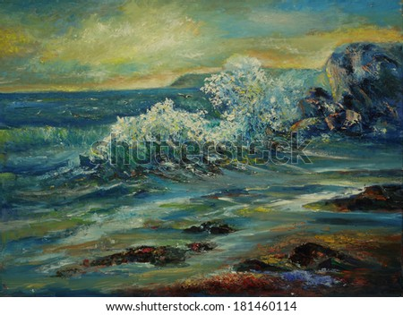 Oil color painting of the sea on canvas. - stock photo