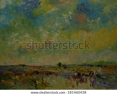 Oil color painting on canvas, Picture of countryside in Thailand. - stock photo