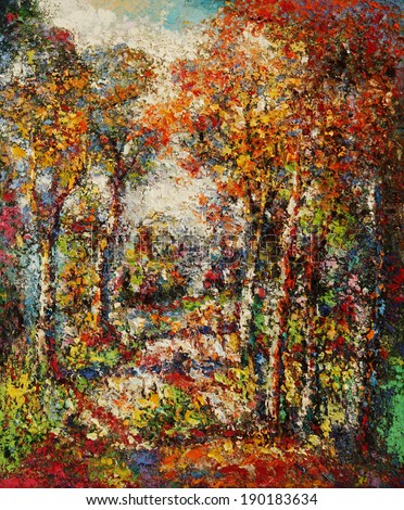 Oil color painting on canvas, Picture of the trees and forest in Thailand. - stock photo