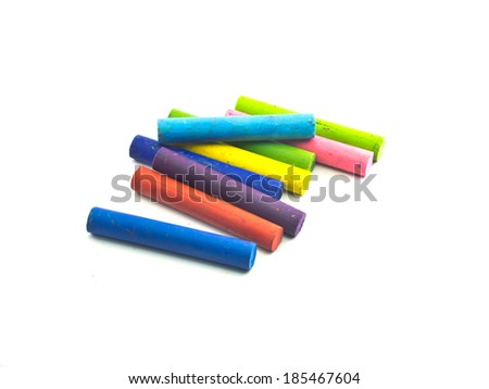 Oil crayons isolated on white background