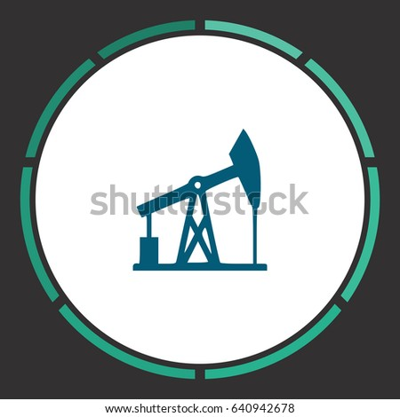 Oil derrick. Flat simple Blue pictogram in a circle. Illustration icon