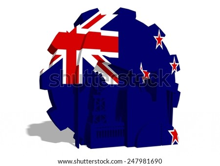 oil derrick, gas rig and factory silhouettes on new zealand national flag textured gear