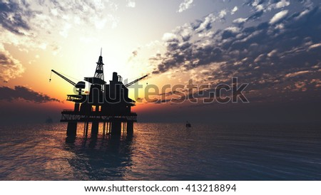 oil drill rig platform on the sea - stock photo