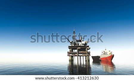 oil drill rig platform on the sea 3d rendering