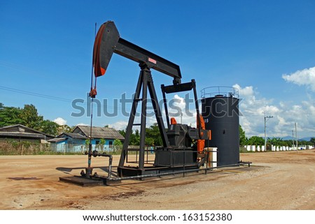 Oil drilling machine in the province of Chiangmai, Thailand. - stock photo