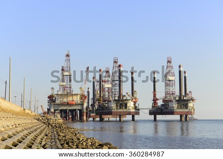 Oil drilling platform in the sea