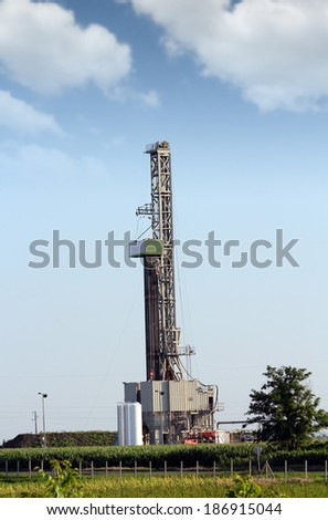 oil drilling rig on field