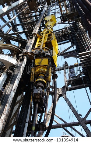 Oil Drilling Rig Top Drive System (TDS) - Petroleum Industry - stock photo