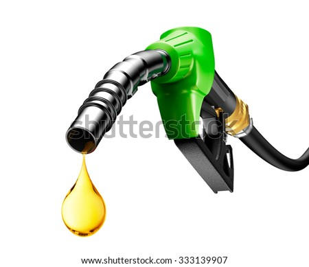 Oil dripping from a gasoline pump isolated on white background