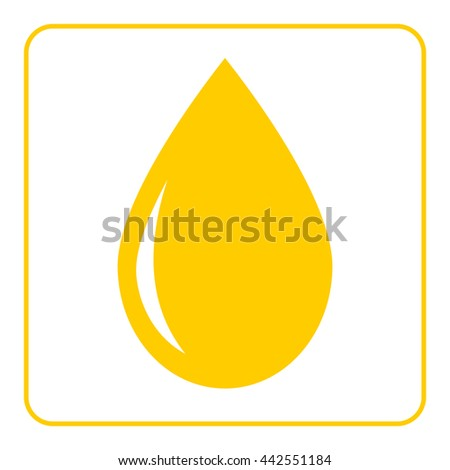 Oil drop flat icon. Droplet liquid honey, lemon juice. Yellow sign isolated on black background. Golden graphic design element. Symbol olive, honey, juice, fuel. Ecological natural illustration - stock photo