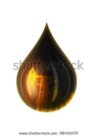 Oil Drop Isolated on white. 3D render. - stock photo