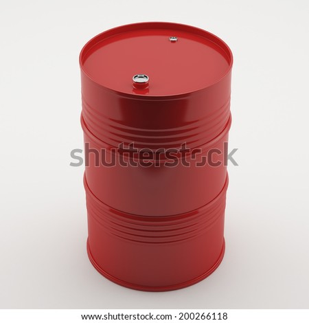 Oil Drum. Classic Oil Drum. Red, isolated on white.