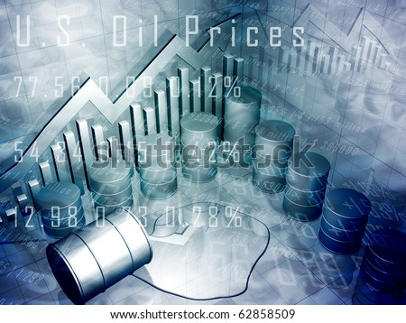 Oil Drum with Downward Pointing Stock Arrow - stock photo