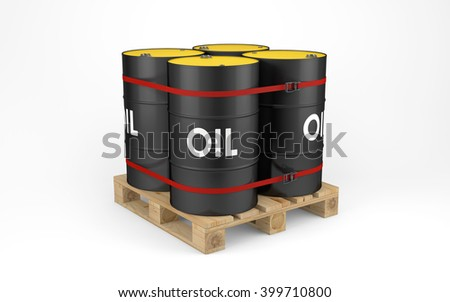Oil drums on wooden pallet isolated on white with clipping path. 3d rendering - stock photo