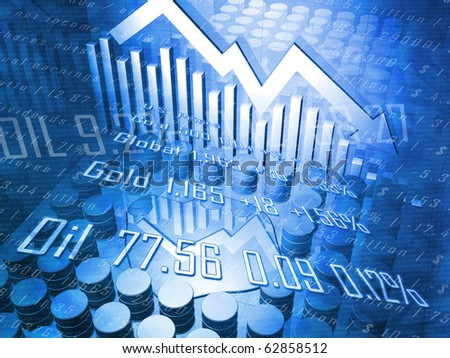 Oil Drums with Spilled Oil Downward Pointing Stock Arrow - stock photo