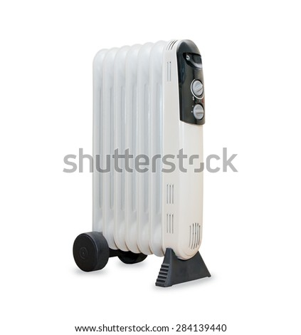 Oil electric radiator heater isolaited over white - stock photo