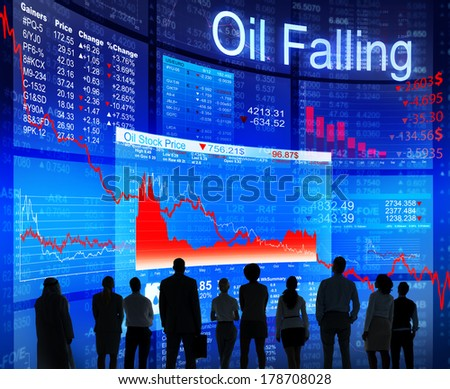 Oil Falling Crisis with Business People - stock photo