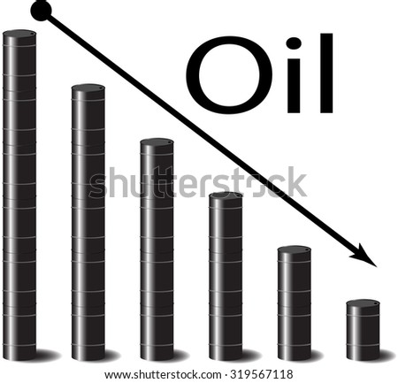 Oil falls in price. Petrol down, gasoline and arrow, energy industry, price graph and chart, barrel crisis, black gold.  graphic illustration - stock photo