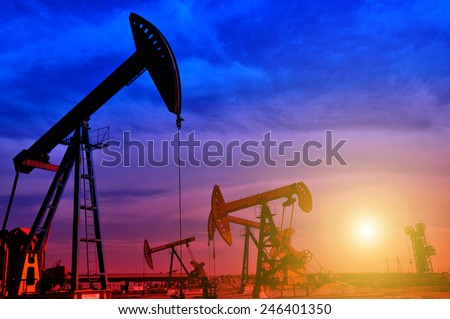 Oil field drilling rig, jidong oilfield in China   - stock photo